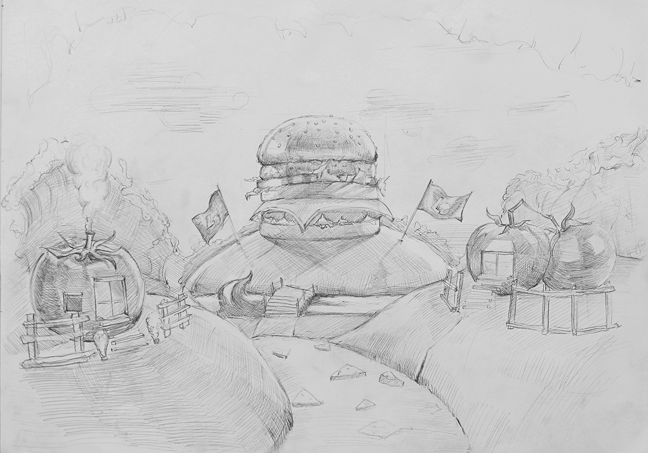 bratus agency-hamburger land-photo manipulation sketch-lotteria vietnam