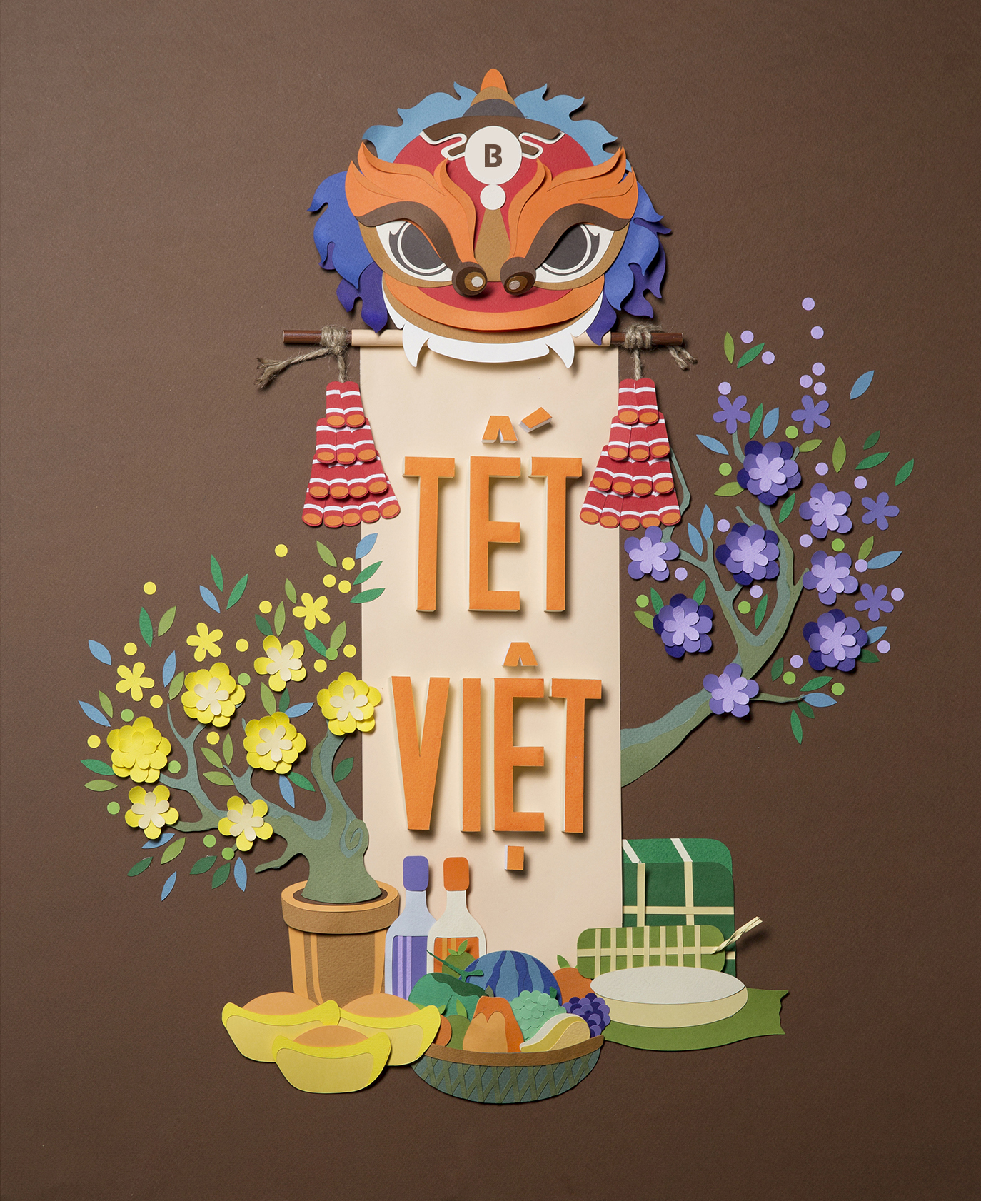 Poster handcraft paper- vietnam traditional design