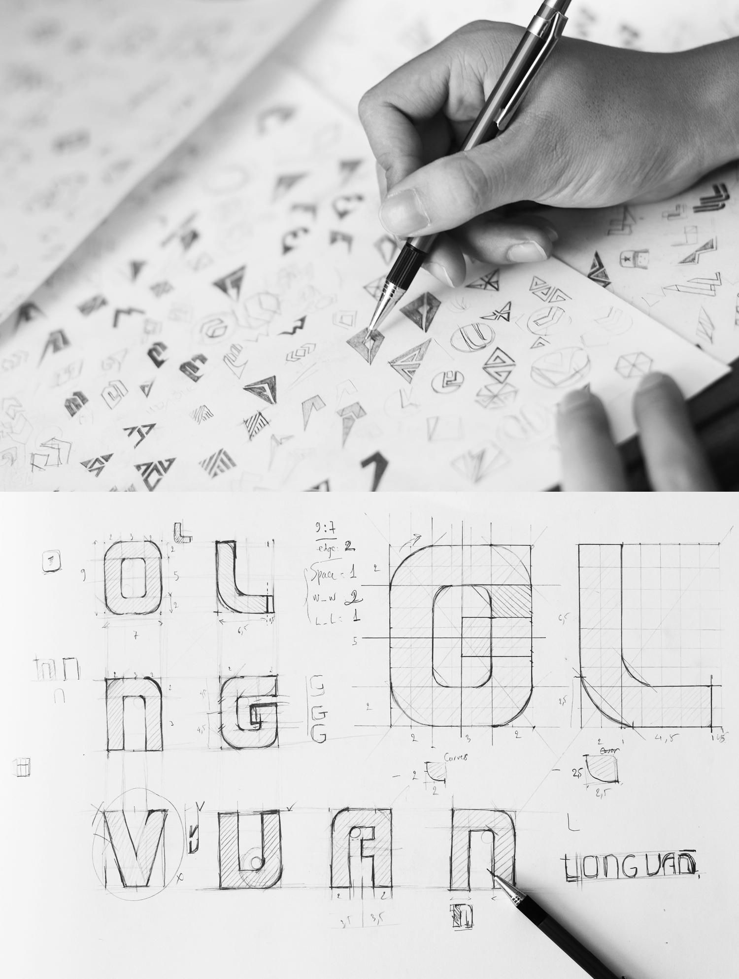 logo sketch process-bratus agency-logo designer vietnam-branding agency vietnam